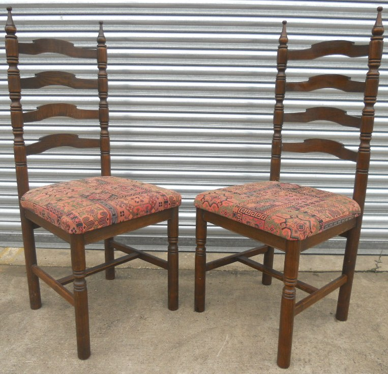 Set Of Ten Oak Ladderback Dining Chairs By Younger